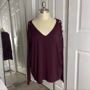Express V Neck Lace Shoulder Long Sleeve Top Large